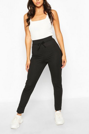 Black Petite High Waist Drawcord Leggings