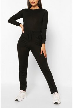 Black Petite Light Knit Jogger And Crop Lounge Set