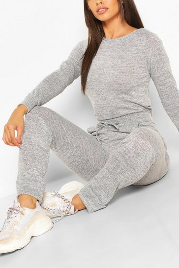 Grey marl grey Grey Petite Light Knit Jogger And Crop Lounge Set