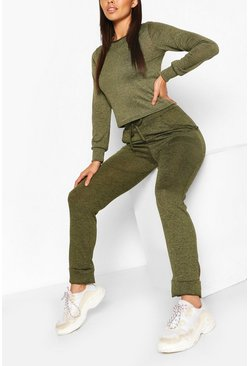 Khaki Petite Light Knit Jogger & Crop Lounge Set