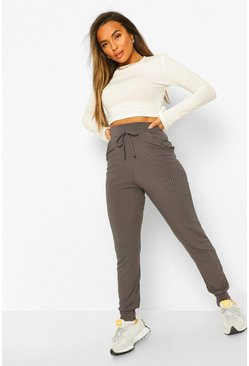 Charcoal grey Petite Rib High Waist Joggers