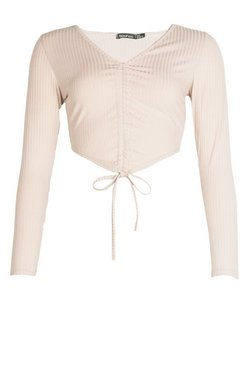Stone Petite Rib Long Sleeve Ruched Front Crop Top