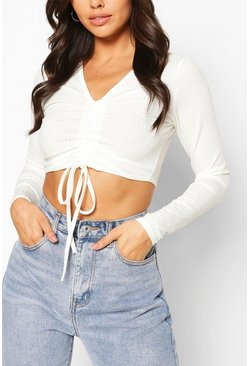 White Petite Rib Long Sleeve Ruched Front Crop Top