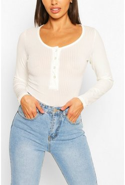 Cream Petite Button Detail Long Sleeve Rib Bodysuit