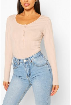 Stone Petite Button Detail Long Sleeve Rib Bodysuit