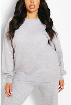 Sweat coupe oversize basique Plus, Gris