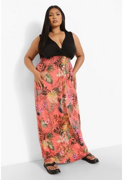 Peach orange Plus Palm Print Contrast Maxi Dress
