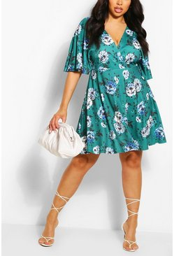 Floral multi Plus Wrap Front Angel Sleeve Dress