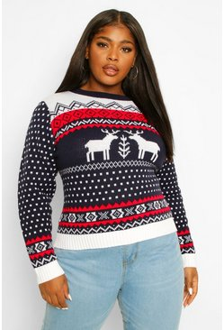 Navy Plus Christmas Reindeer Jumper