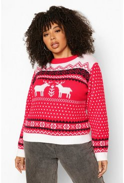 Red Plus Christmas Reindeer Jumper