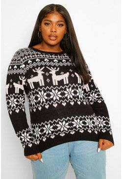 Black Plus Christmas Fairisle Jumper