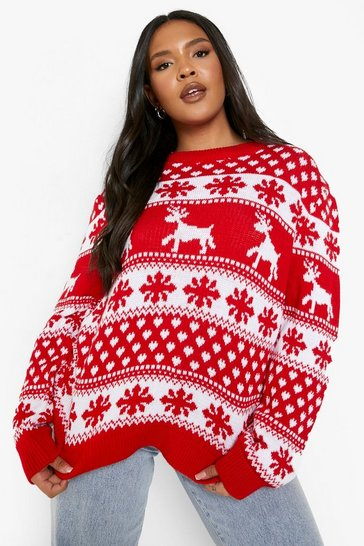 Red Plus Reindeer and Snowflake Christmas Jumper