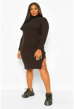 Black Plus Chunky Roll Neck Midaxi Jumper Dress
