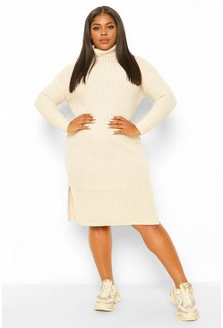 Oatmeal Plus Chunky Roll Neck Midaxi Jumper Dress