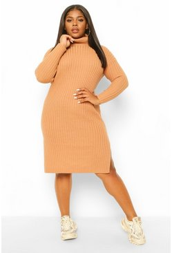Tan brown Plus Chunky Roll Neck Midaxi Jumper Dress