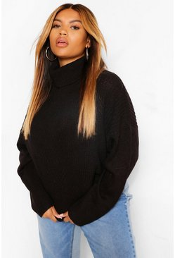 Black Plus Cable Knit Sleeve Roll Neck Jumper