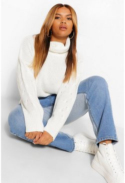 Ivory white Plus Cable Knit Sleeve Turtleneck Sweater