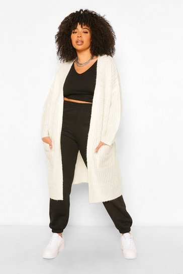 Ivory white Plus Textured Chunky Knit Cardigan