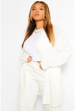 Cream white Plus Texture Open Front Boyfriend Cardigan
