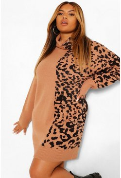 Tan brown Plus Leopard Jacquard Roll Neck Jumper Dress