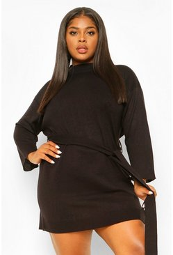 Black Plus High Neck Belted Jumper Dress