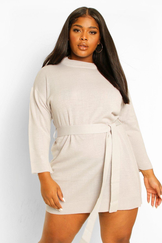 Plus High Neck Belted Jumper Dress 8