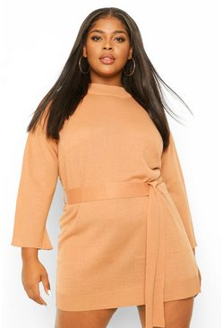 Tan brown Plus High Neck Belted Jumper Dress
