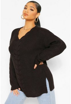 Black Plus Cable Knit Sweater