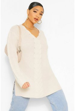 Oatmeal beige Plus Cable Knit Jumper