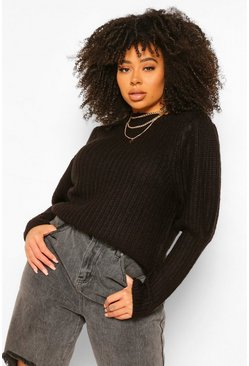 Black Plus Textured Yarn Puff Sleeve Jumper