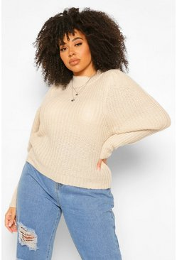 Stone beige Plus Textured Yarn Puff Sleeve Jumper