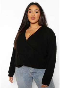 Black Plus Oversized Wrap Front Jumper