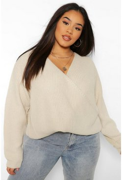 Oatmeal beige Plus Oversized Wrap Front Jumper