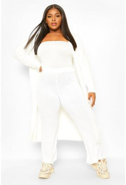 Ivory white Plus Feather Longline Cardigan
