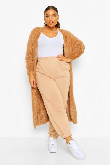 Tan brown Plus Feather Longline Cardigan