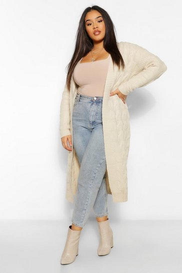 Oatmeal beige Plus Cable Knitted Oversized Cardigan