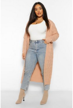 Rose pink Plus Grof Gebreide Oversized Cardigan