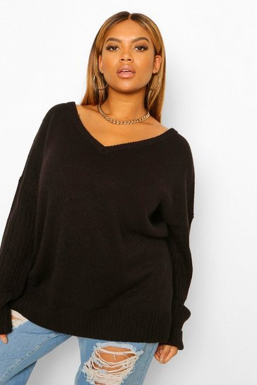 Black Plus V Neck V Back Oversized Jumper