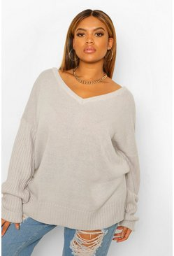 Grey Plus V Neck V Back Oversized Jumper