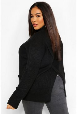 Black Plus Wrap Back Pocket Detail Jumper