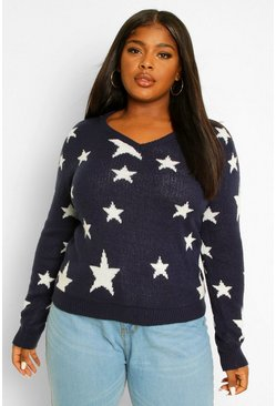 Navy Plus Star Jacquard V Neck Jumper