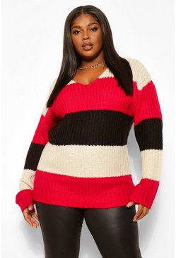 Berry red Plus Stripe Oversized Chunky Jumper