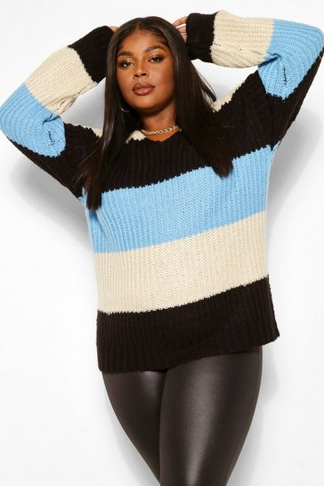 Oatmeal beige Plus Stripe Oversized Chunky Jumper