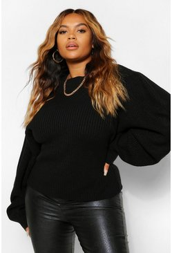 Black Plus Balloon Sleeve High Neck Jumper