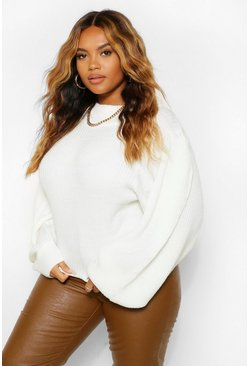 Ivory white Plus Balloon Sleeve High Neck Jumper
