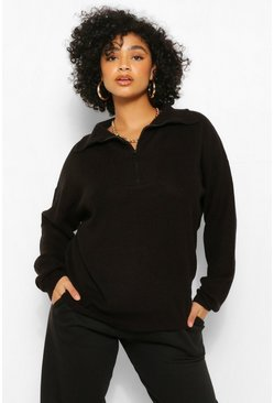 Black Plus Zip Through Polo Jumper