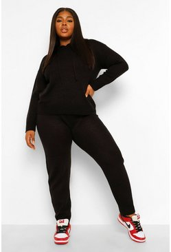 Black Plus Hooded Jumper & Jogger Lounge Set