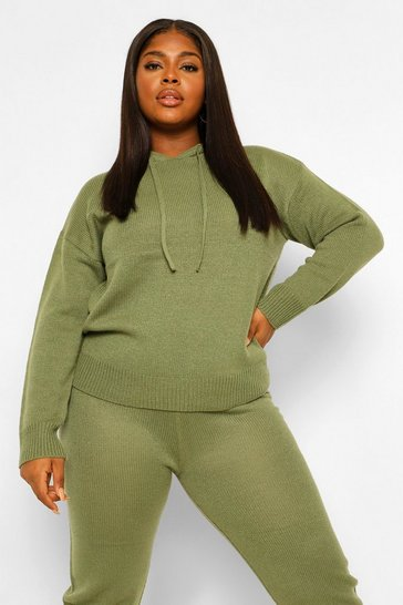 Khaki Plus Hooded Jumper & Jogger Lounge Set