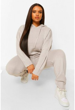Silver grey grey Plus Hooded Jumper & Jogger Lounge Set