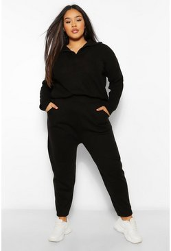Black Plus Zip Polo Jumper And Jogger Lounge Set